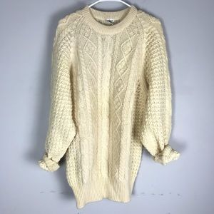 100% wool chunky cable knit tunic sweater cream